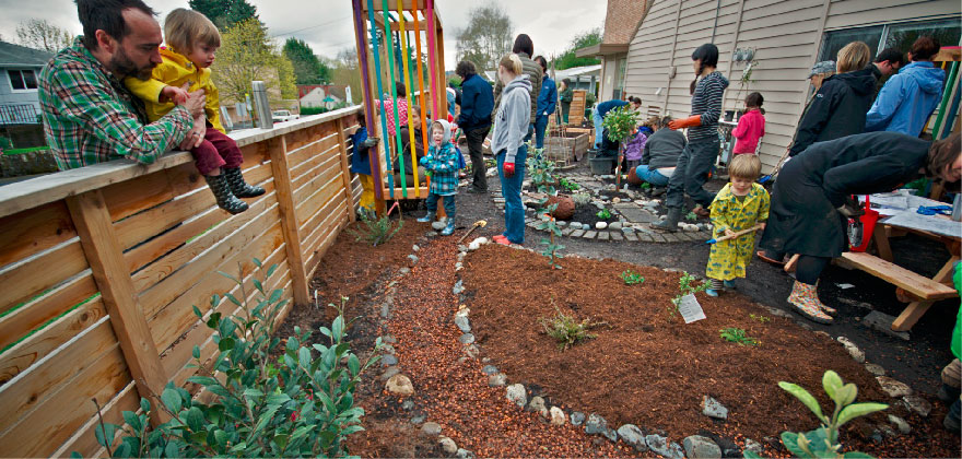 Gardening at Puddletown Preschool in Portland, OR