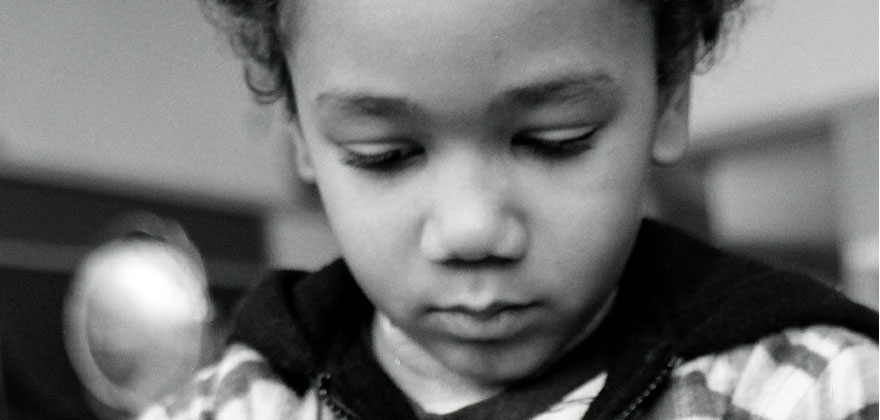Girl concentrating at Puddletown School in Portland Oregon